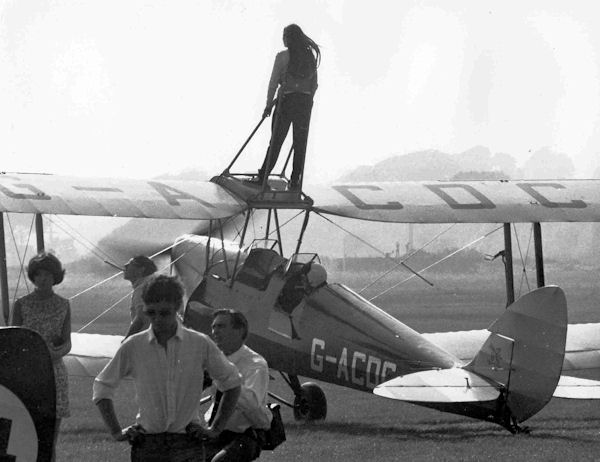 G-ACDC DH Tiger Moth post-WWII with wing walker
